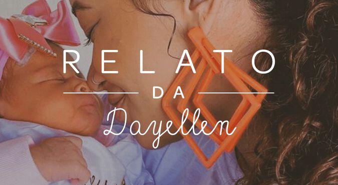 Mamãe Dayellen emocionada com a sua bebê Manu