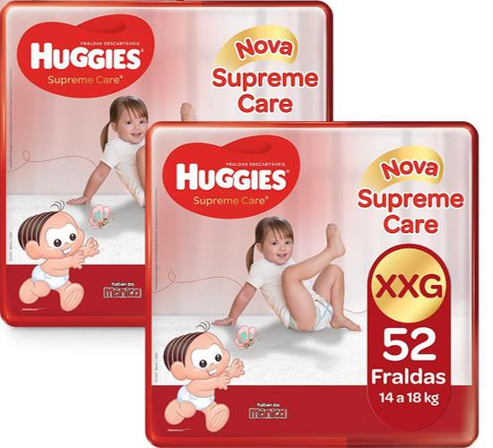 2 Fraldas Supreme Care Aberta Hiper XXG