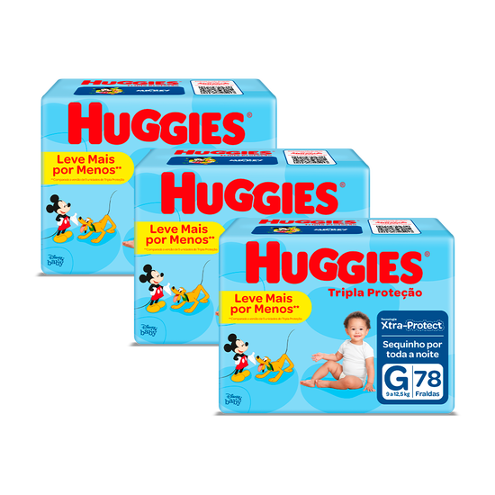 3 Fraldas Tripla Proteção Hiper G