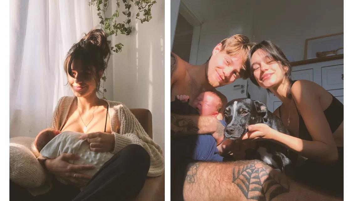 Mamãe (Leprince) amamentando bebê & Família reunida para foto