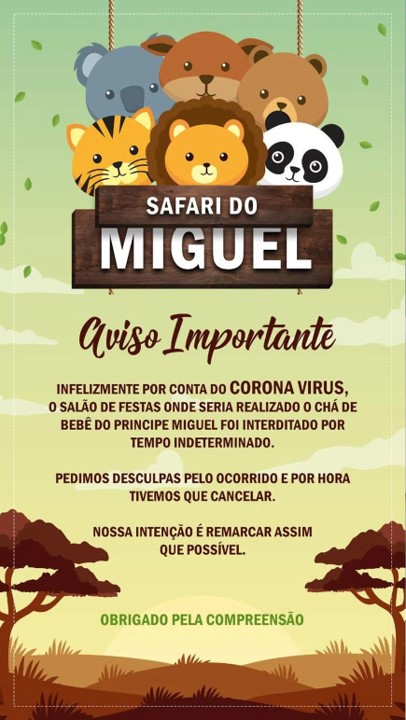 Chá de bebê - Safaria do Miguel adiado devido a pandemia do COVID-19
